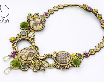 Abaco necklace one of a kind designer soutache necklace handmade statement jewellery green brown purple neckpiece