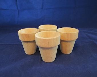 Raw Wood Craft Supplies Destash - Small Flower Pots