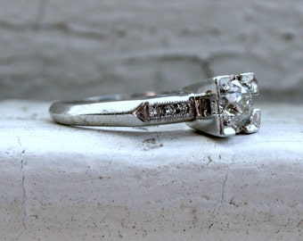 Classic Vintage Platinum Diamond Engagement Ring - 0.52ct.