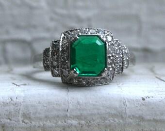 Amazing Vintage Platinum Diamond and Emerald Engagement Ring - 1.60ct.