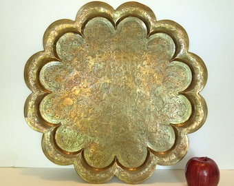 Vintage Solid Brass Tray Figural Indian Etched Serving Tray Scalloped Edge
