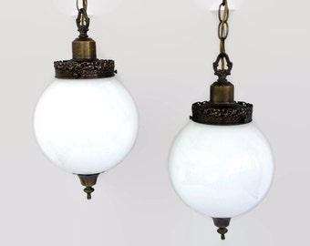 Hollywood Regency Brass Swag Ceiling Light, Retro Double Globe Pendant Light Fixture, Vintage Hanging Lamp, Pair White Glass Globes