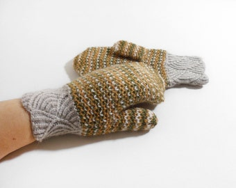 Hand Knitted Mittens, Double Pattern Mittens - Grey, Brown and Moss Green, Size Small