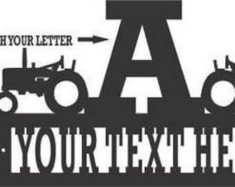 custom personalized farm TRACTOR WELCOME ADDRESS metal sign
