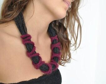 Fiber necklace, big bold necklace, cashmere knit necklace, chunky necklace, unique necklace, textile necklace, marsala, fiber jewelry