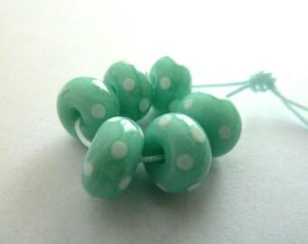 aqua spots, handmade lampwork glass beads
