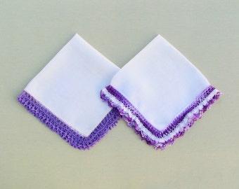 Vintage hankies trimmed with purple lace, lot of 2 vintage lace trimmed linen handkerchiefs