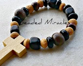 Childs Baptism Wooden Cross Bracelet