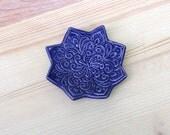 Blue Ring Holder - Indigo Jewelry Bowl - Handmade Ring Dish - Boho Star Pattern - Bohemian Decor - Boho Style - Modern Bohemian