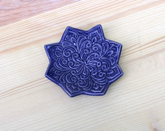 RESERVED FOR rosedellarue - Indigo Jewelry Bowl - Handmade Ring Dish - Boho Star Pattern - Bohemian Decor - Boho Style - Modern Bohemian