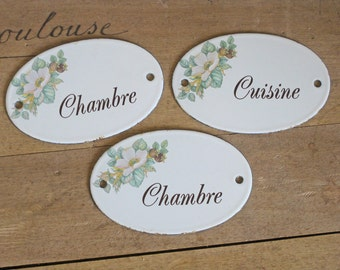 French enamel door plaques - set of 3 cuisine et chambre signs for authentic French home decor