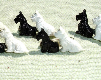 Vintage 1980s Black and White Plastic Scottie Dogs Brooch - 1 Piece