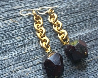 natural GARNET crystal  brass rollo chain earrings