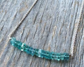 aqua blue APATITE squares sterling silver necklace
