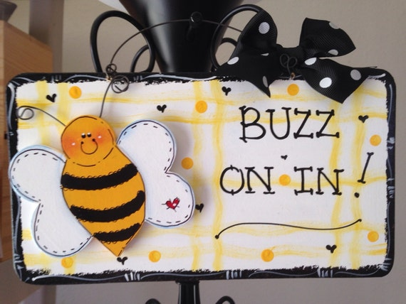 Bumble bee home decor door sign room decor teacher nana mom for Bee decorations for the home