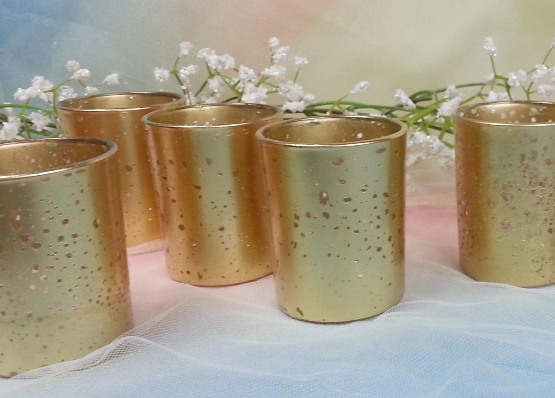 20 per metallic gold mercury glass votive candle holder for. Black Bedroom Furniture Sets. Home Design Ideas