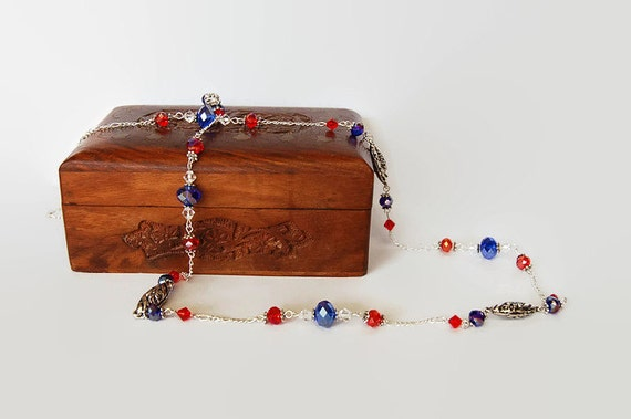 Red, white and blue Swarovski crystal and Tibetan silver long necklace