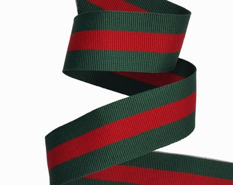 Striped Gross grain Red Green Trim Ribbon, Double Face Trim, DIY Choker Trim, DIY Belt Trim