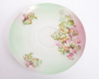 Vintage Grapevine Saucer Hand Painted Pinks and Greens Teacup Grapes Pattern