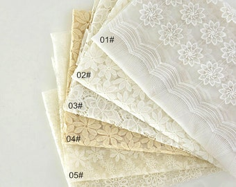 White Ivory Flocking Flower Lace, Fabric,Embroidery,Wedding, White Color,Polyester Mesh,Cotton fabric  (W184)