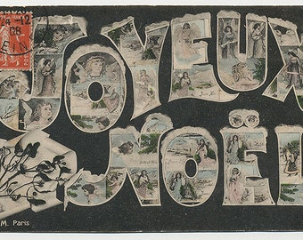 Joyeux Noel French Antique Christmas Postcard to download and print!