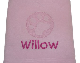 Personalised Pet Blanket with Embossed Paw Design