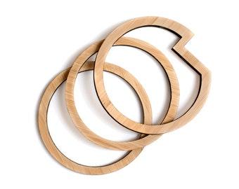 Minimal wooden bracelets - set of 3 - everyday minimal bangles - jewellery made in Australia - wooden bangles