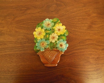 Flowers in Pot Chalkware Wall Hanging Plaster Floral Yellow Blue Green in Brown Basket