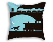 Train Pillow - Blue Pillow - Decorative Pillow - Train Decor - Train Gift - Horse Pillow - Cute Pillow - Boys Room Pillow - Gift For Boys