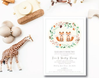 Woodland Foxes Printed Invitations | Baby Shower or Birthday | Printed Invitations or Printable by Darby Cards