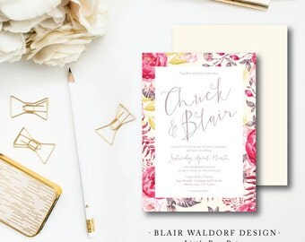 Set of 100 Invitations with Reply Card | Blair Waldorf Design | Wedding Invitation and additional pieces | Printed by Darby Cards Collective