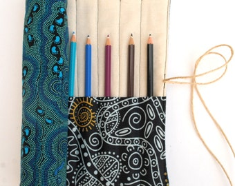 Australian Aboriginal Fabrics Pencil Roll - Holds 12 Pencils / Crayons / Brushes / Pens / Hooks