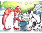 Reserved painting - Penguins fighting over a fish bucket with two cats - Original art A5 Watercolour - Katie Hone