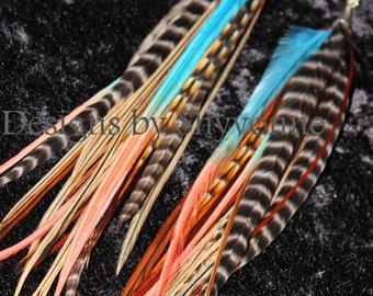Natural with Teal/Corral Fade Ombre Accents Feather Earrings