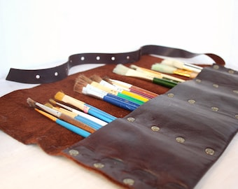 Leather Pencil Roll | Leather Artist Roll | Pencil Case | Leather pencil Case | Leather Tool Roll | Paintbrush Roll  | Personalization