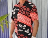 HUGE 60% OFF Vintage Men's Jam's World Black & Red Short Sleeve Tropical Hawaiian Shirt, size S, Boats, Volcanos,