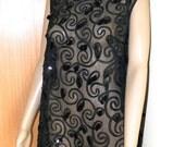 30% OFF Vintage 1980's Sheer Black Tulle Ribbon & Paillettes A-Line Dress, Mod Scroll over Tulle, sz M