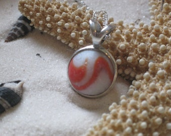 Orange and White Lake Erie Beach Glass Marble Pendant