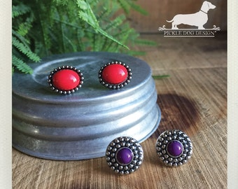 Boho Duo. Post Earring Set -- (Red, Purple, Bright, Rustic, Antiqued Silver, Simple, Classic, Small, Set of 2, Cute, Birthday Gift Under 10)