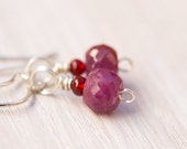 Ruby earrings - 7.5 carats, raw ruby, natural ruby, ruby jewelry, eco friendly jewelry, sterling silver, July birthstone - LIMITED RUN