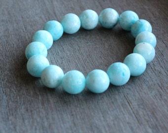 Hemimorphite Blue 14 mm Stretchy Bracelet #30222