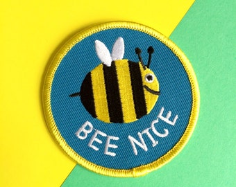 Bee Nice Patch, Cute Iron On Embroidered Patch, Bumble Bee Patch, Happy Nature Patch, Insect Patch, Blue Patch, Fun Patches, hello DODO
