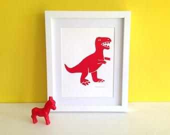 Dinosaur prints, nursery art, kids bedroom, Colourful Dino screen prints - T-Rex Print, Jurassic World, Tyrannosaurus Rex Screen Print
