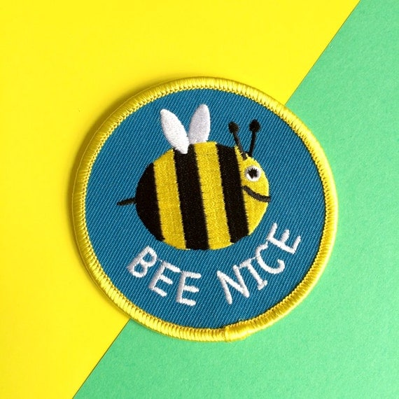 Bee nice patch cute iron on embroidered bumble