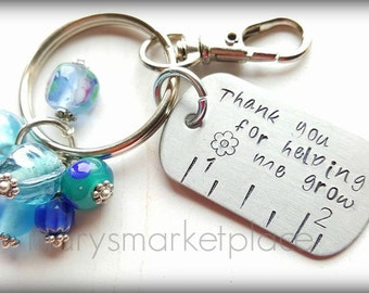 Thank You For Helping Me Grow Key Chain - Teacher Parent Gift
