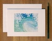 "Wave Card. Single Folded Blank Greeting Card. ""Peace"""
