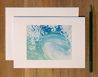 "Wave Card. Single Folded Blank Greeting Card. ""Peace"""
