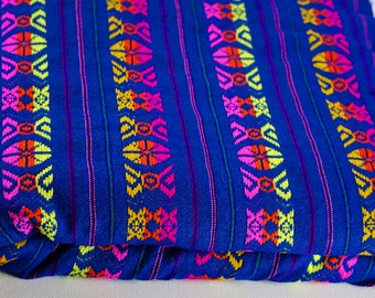 "Blue Geometric Mexican Fabric 31"" width by one yard."