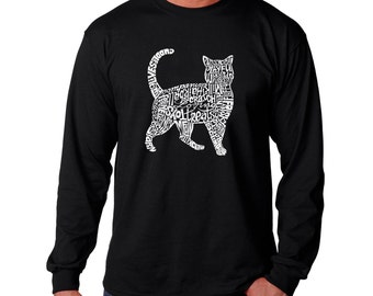 Men's Long Sleeve T-shirt - Cat Created out of cat themed words
