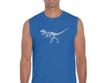 Men's Sleeveless Shirt - Dinosaur T-Rex Skeleton